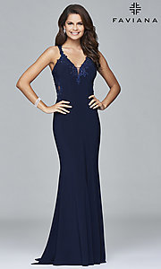 Image of Faviana long formal dress with embroidered lace. Style: FA-S7999 Detail Image 2