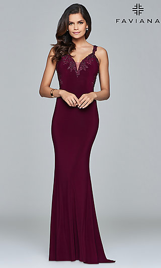 Faviana Long Formal Dress with Embroidered Lace