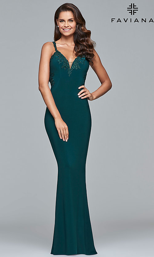 Image of Faviana long formal dress with embroidered lace. Style: FA-S7999 Detail Image 6