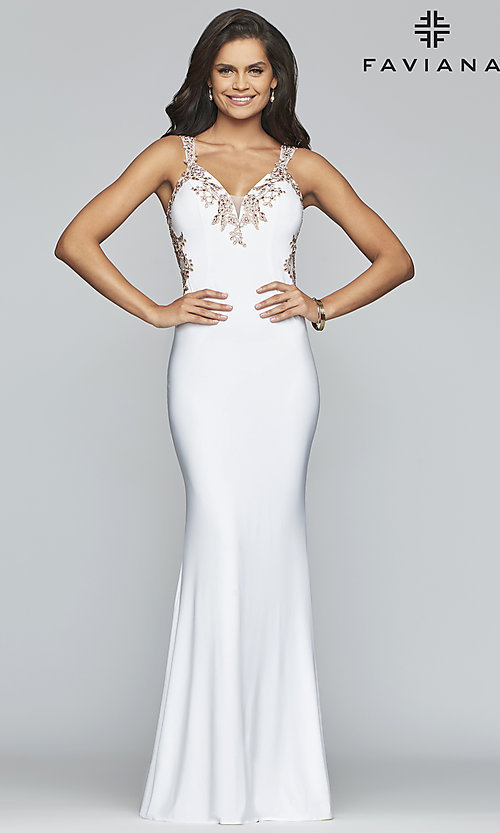 Image of Faviana long formal dress with embroidered lace. Style: FA-S7999 Detail Image 4