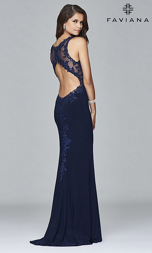 Image of Faviana long formal dress with embroidered lace. Style: FA-S7999 Back Image