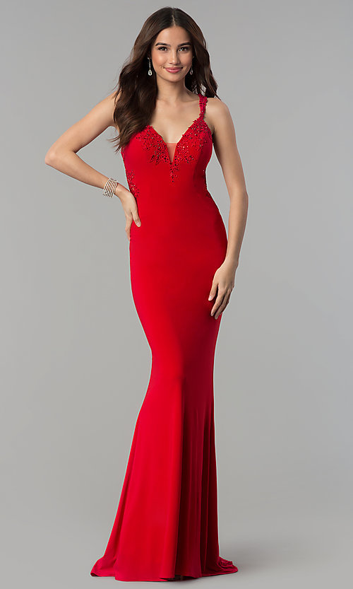 Image of Faviana long formal dress with embroidered lace. Style: FA-S7999 Detail Image 3