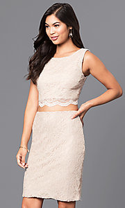 Image of two-piece sleeveless gold lace short party dress. Style: CT-3186QJ9A Front Image