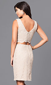 Image of two-piece sleeveless gold lace short party dress. Style: CT-3186QJ9A Back Image