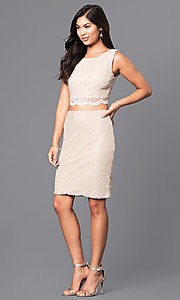 Image of two-piece sleeveless gold lace short party dress. Style: CT-3186QJ9A Detail Image 1