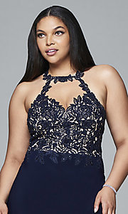 Image of plus-size high-neck Faviana long formal gown. Style: FA-9394 Detail Image 1
