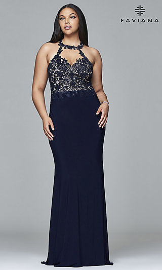 Plus-Size High-Neck Faviana Long Formal Gown