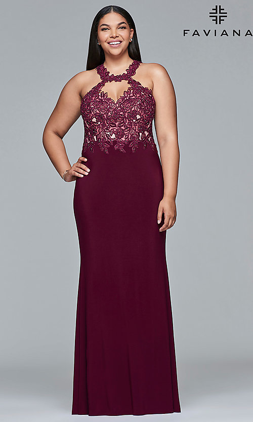 Image of plus-size high-neck Faviana long formal gown. Style: FA-9394 Detail Image 2