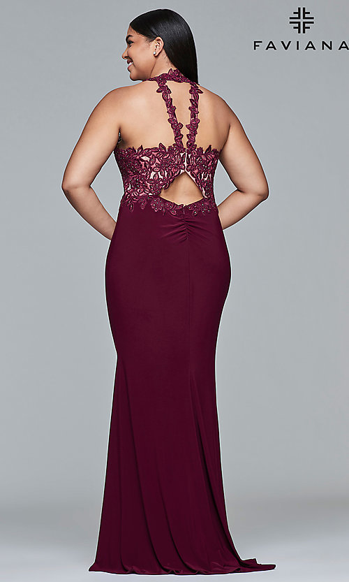 Image of plus-size high-neck Faviana long formal gown. Style: FA-9394 Detail Image 3