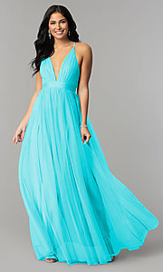Image of v-neck long prom dress with adjustable straps. Style: LUX-LD3449 Detail Image 1