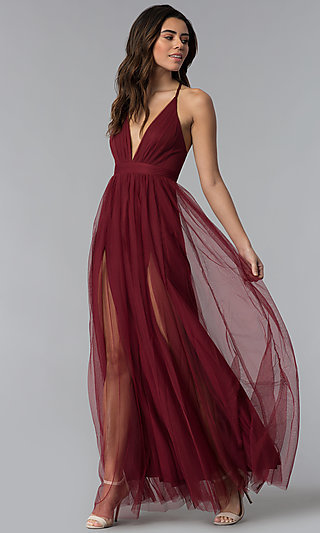 V-Neck Long Prom Dress with Adjustable Straps