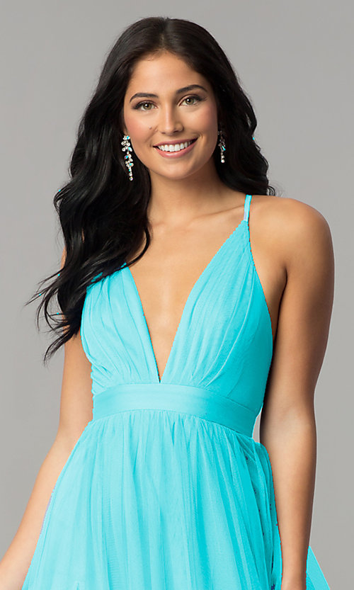 Image of v-neck long prom dress with adjustable straps. Style: LUX-LD3449 Detail Image 2