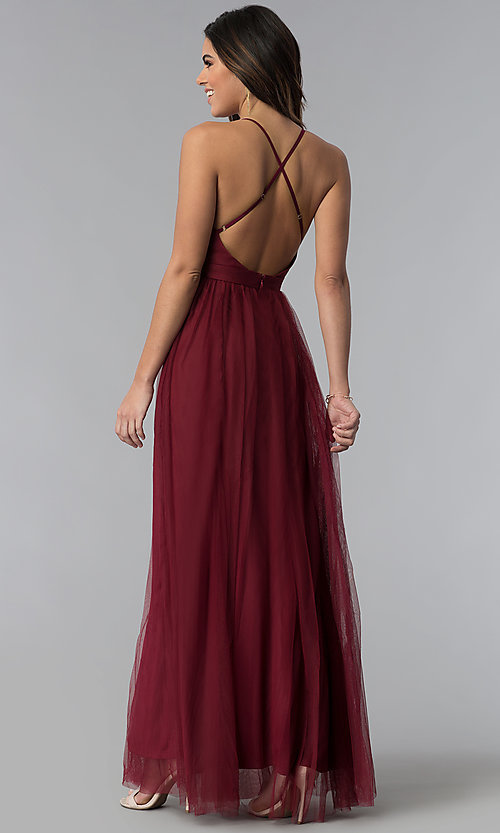 Image of v-neck long prom dress with adjustable straps. Style: LUX-LD3449 Back Image