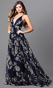 Image of long floral-print formal dress with empire waist. Style: LUX-LD3450 Detail Image 1