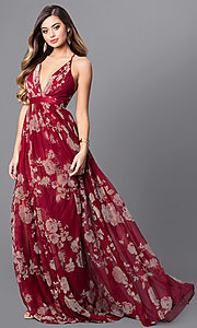 Image of long floral-print formal dress with empire waist. Style: LUX-LD3450 Front Image