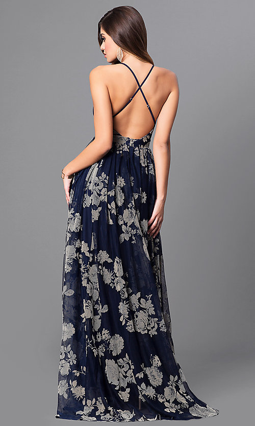 Image of long floral-print formal dress with empire waist. Style: LUX-LD3450 Back Image