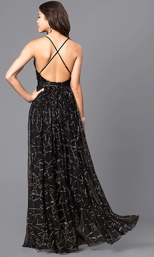 Image of long formal dress with deep v-neck and gold print. Style: LUX-LD3451 Back Image