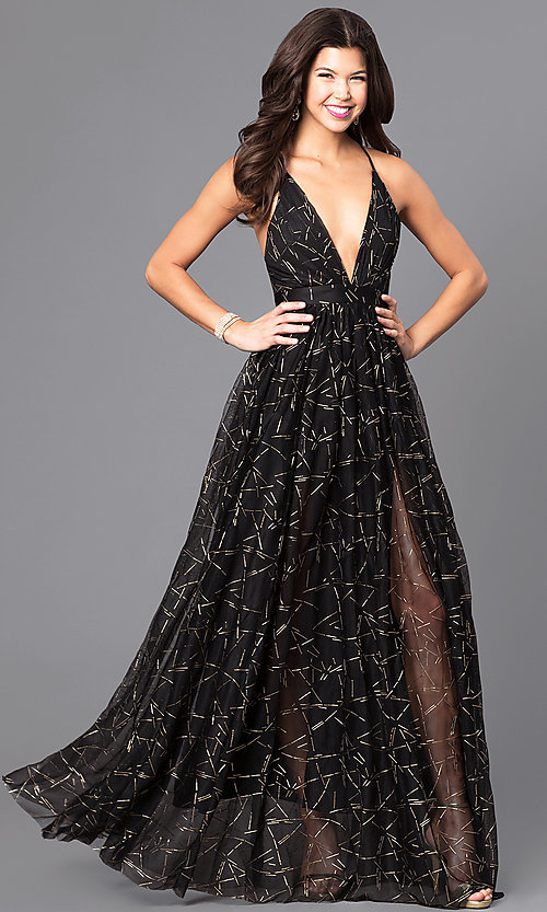31bb1f38629d Image of long formal dress with deep v-neck and gold print. Style: