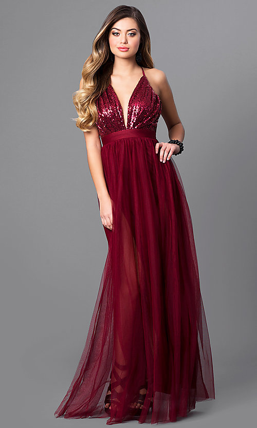 Image of sequin-bodice long prom dress with empire waistline. Style: LUX-LD3455 Front Image