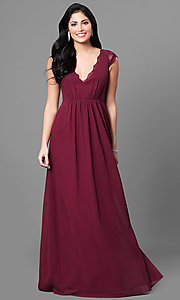 Image of scalloped lace deep v-neckline long prom dress. Style: MT-8421 Front Image