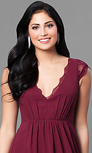 Image of scalloped lace deep v-neckline long prom dress. Style: MT-8421 Detail Image 1