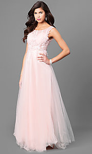 Image of lace-applique long prom dress with uneven hemline. Style: MT-8443 Front Image