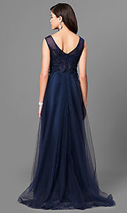Image of lace-applique long prom dress with uneven hemline. Style: MT-8443 Back Image