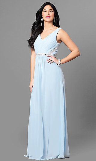 Long Formal Pastel Prom Dress with Jeweled Waist