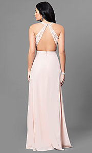 Image of lace v-neck bodice long prom dress with open back. Style: MT-8439 Back Image