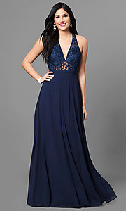 Image of lace v-neck bodice long prom dress with open back. Style: MT-8439 Detail Image 1