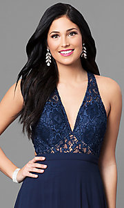 Image of lace v-neck bodice long prom dress with open back. Style: MT-8439 Detail Image 2