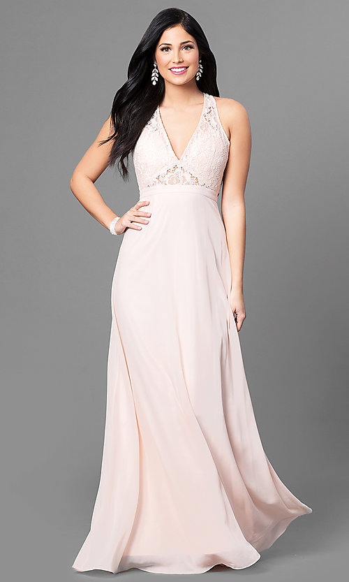 Image of lace v-neck bodice long prom dress with open back. Style: MT-8439 Front Image