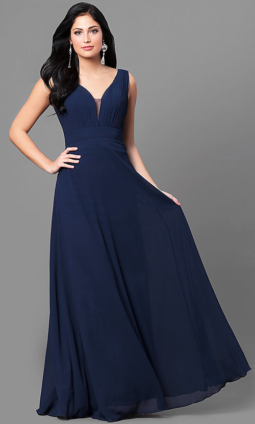 Cheap Long Navy Blue Formal Dress With Scoop Back