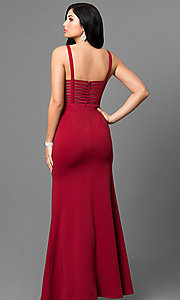 Image of cut-out back long prom dress with side slit. Style: MT-8396 Back Image