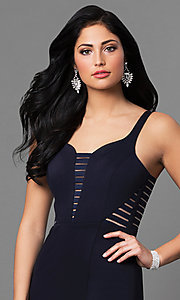 Image of cut-out back long prom dress with side slit. Style: MT-8396 Detail Image 1