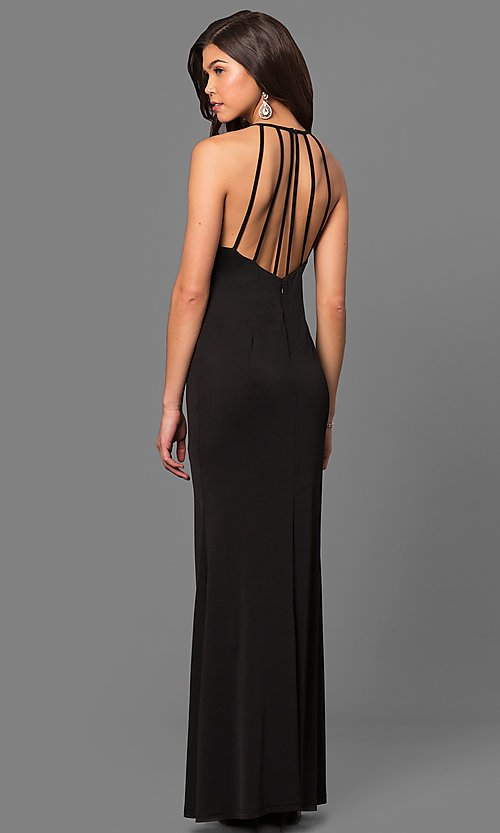 Image of high-neck long black formal dress with rhinestones.  Style: MT-8180 Front Image