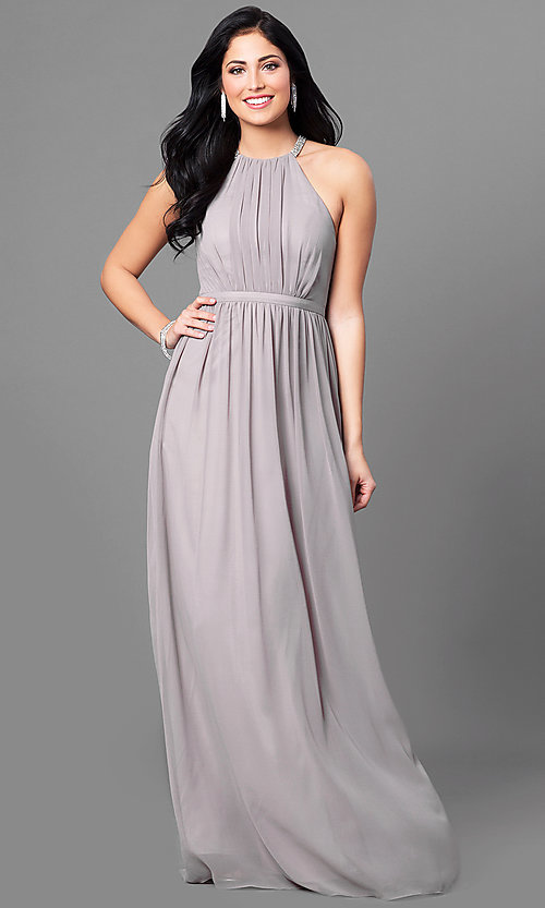 Image of ruched-bodice long formal prom dress with beading. Style: MT-8169 Front Image