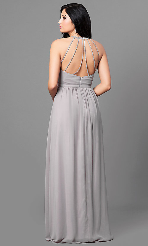 Image of ruched-bodice long formal prom dress with beading. Style: MT-8169 Back Image