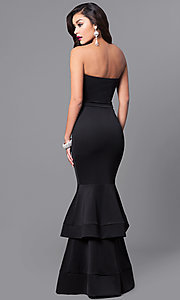 Image of strapless long formal dress with tiered mermaid skirt. Style: SY-ID3170AP Back Image