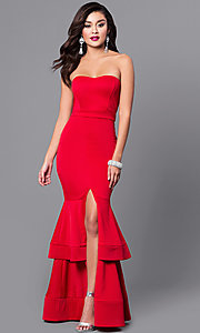 Image of strapless long formal dress with tiered mermaid skirt. Style: SY-ID3170AP Front Image