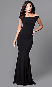 Image of off-the-shoulder mermaid long black formal dress. Style: SY-ID4188VP Front Image