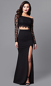 Image of two-piece long black prom dress with lace sleeves. Style: SY-IDS1056VP Front Image