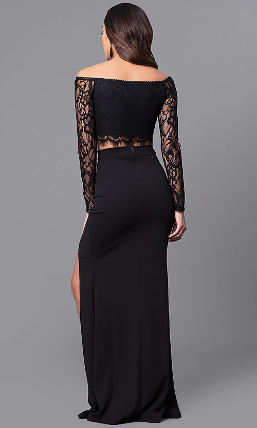Image of two-piece long black prom dress with lace sleeves. Style: SY-IDS1056VP Back Image