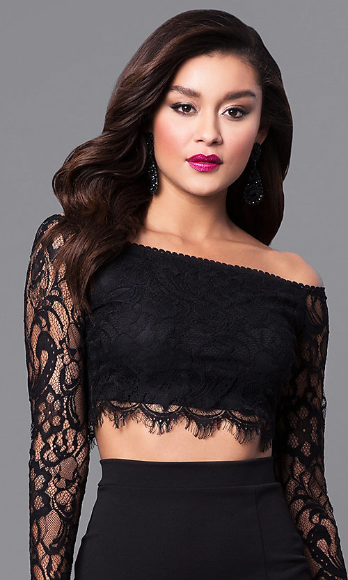 Image of two-piece long black prom dress with lace sleeves. Style: SY-IDS1056VP Detail Image 1
