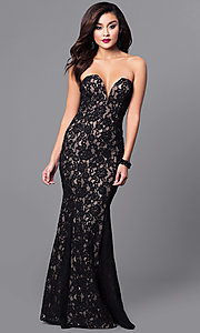 Image of long lace black prom dress with sweetheart bodice.  Style: SY-ID4167VP Front Image
