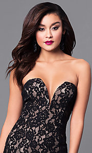 Image of long lace black prom dress with sweetheart bodice.  Style: SY-ID4167VP Detail Image 1