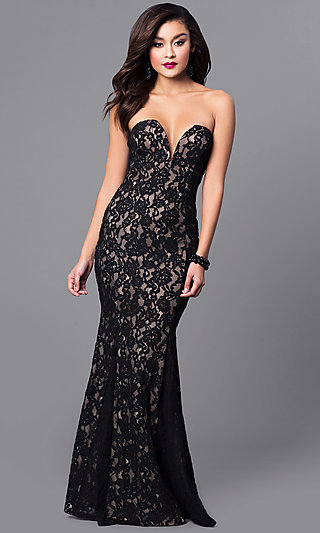 Long Lace Black Prom Dress with Sweetheart Bodice