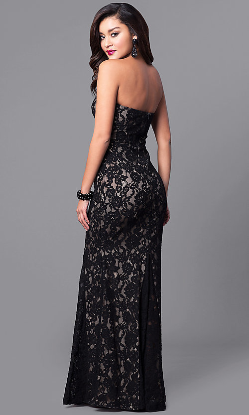 Image of long lace black prom dress with sweetheart bodice.  Style: SY-ID4167VP Back Image