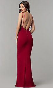Image of formal v-neck long prom dress with open back. Style: SY-ID4148VY Back Image