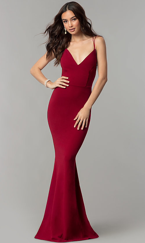 Image of formal v-neck long prom dress with open back. Style: SY-ID4148VY Front Image